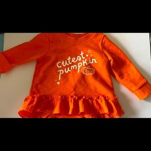 "Halloween dress ""cutest pumpkin""."
